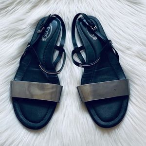 TOD'S Black Strappy Flat Silver Sandals Logo 37.5